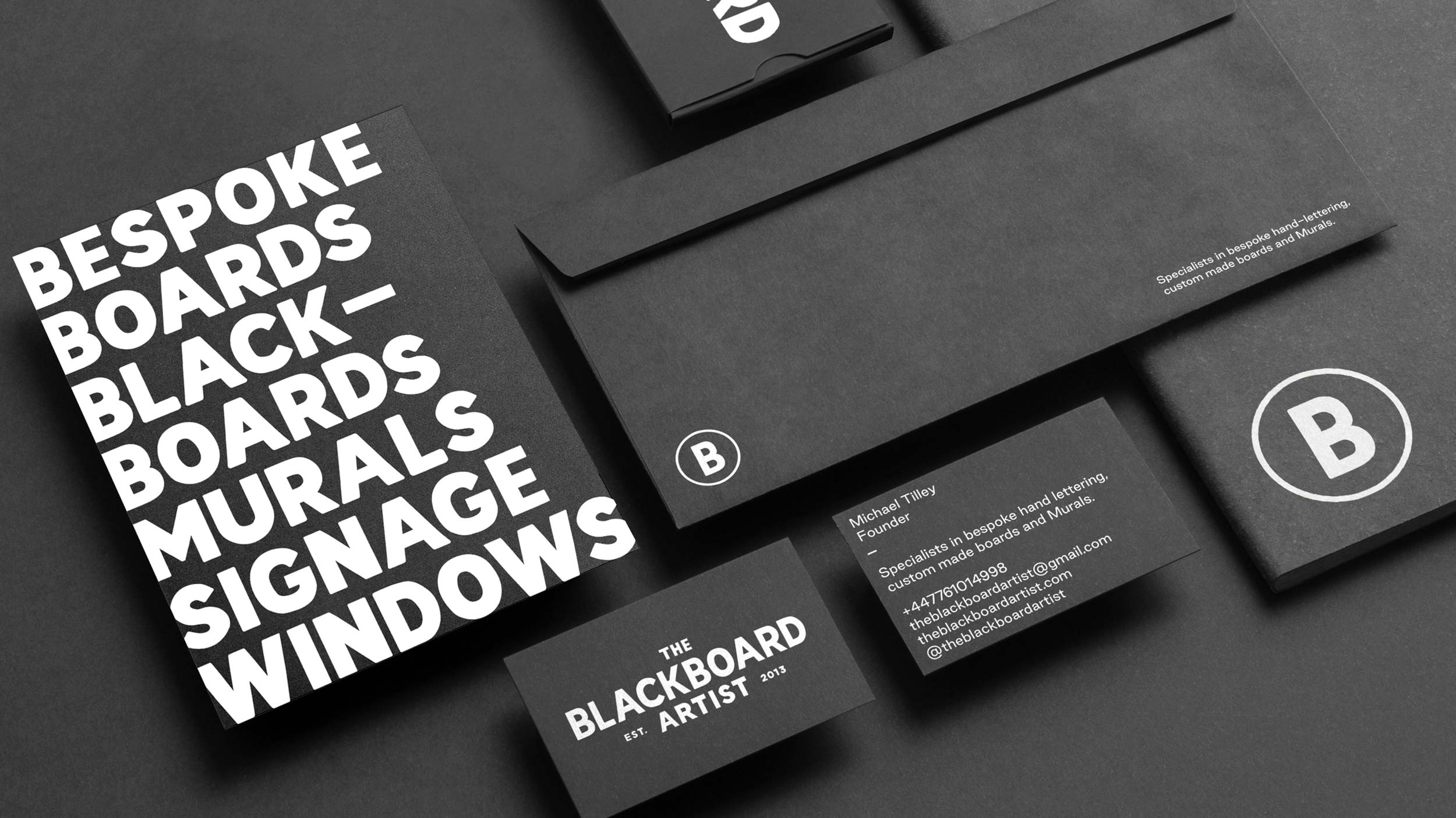 The Blackboard Artist stationery design