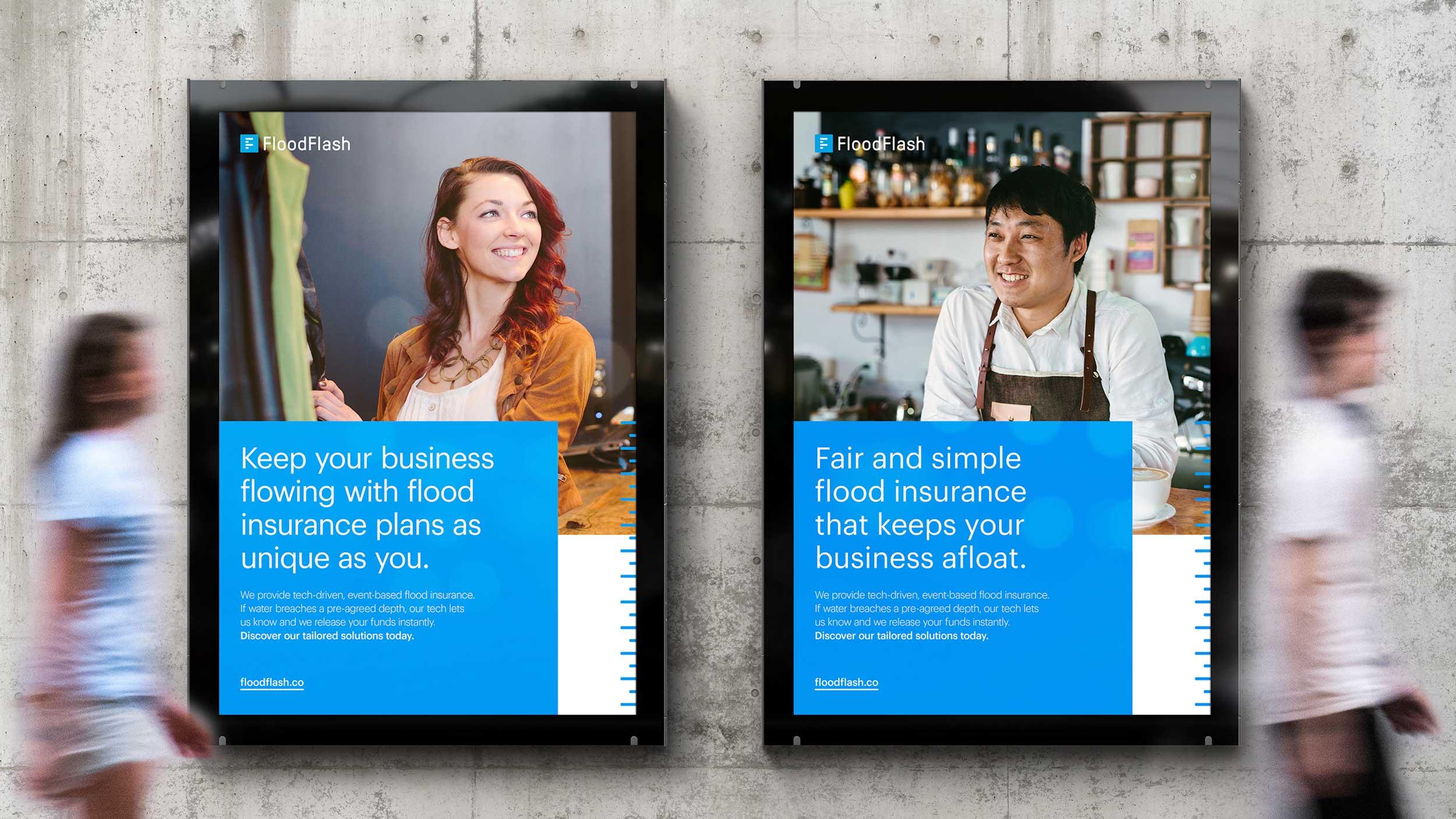 Flood insurance billboard design boldly