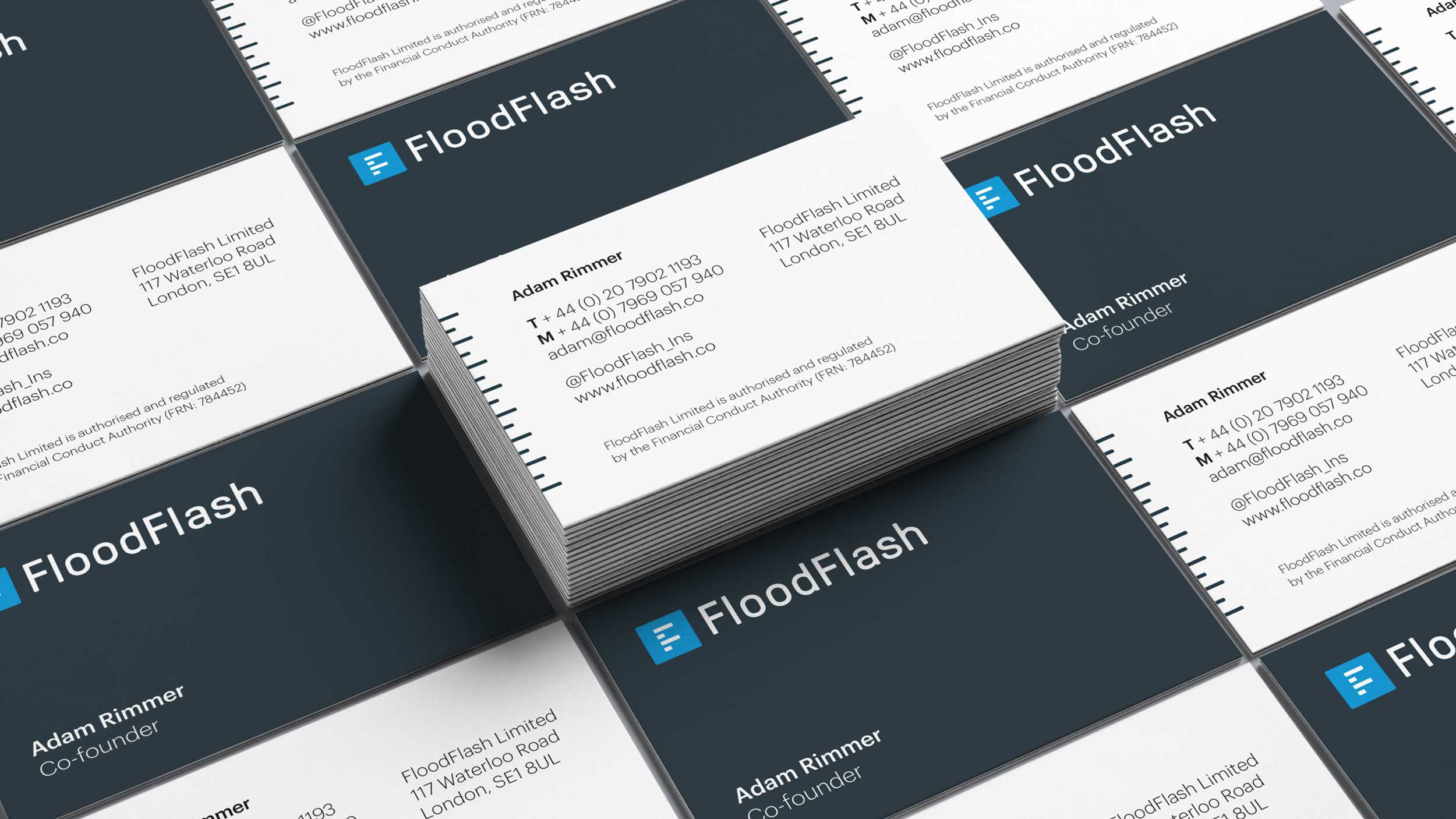 Top view of Floodflash business cards