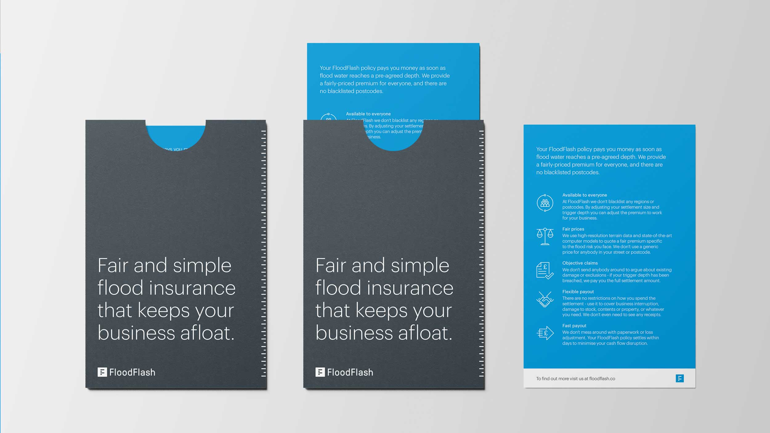 Flood flash direct mail design