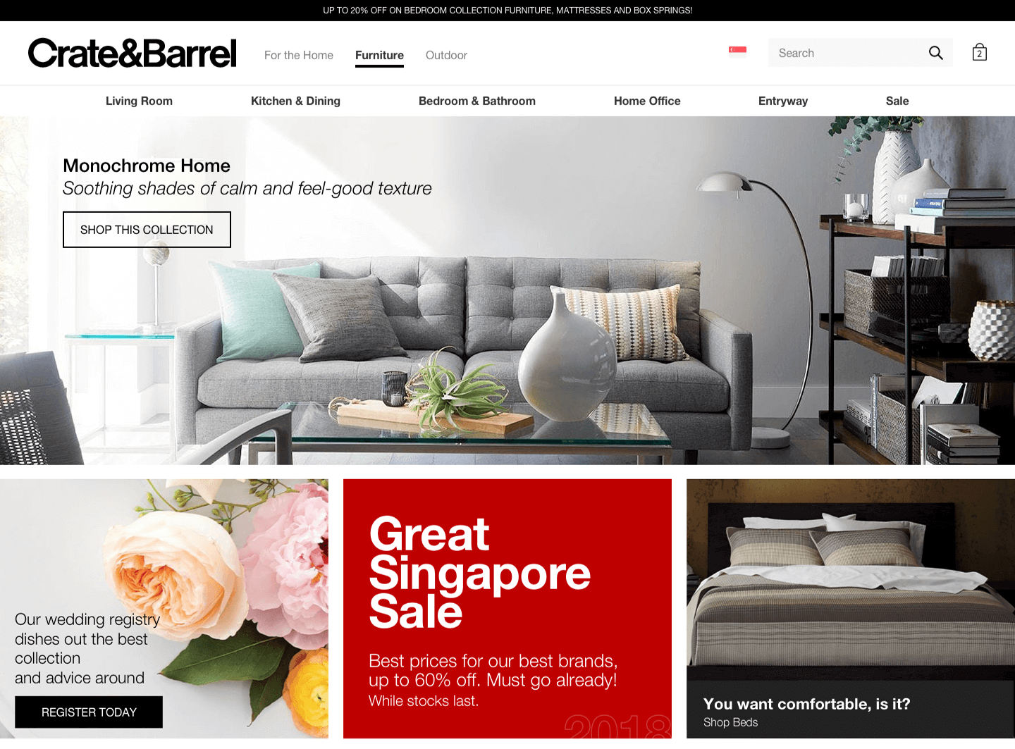 Homepage with furniture, housewares and Singlish expressions