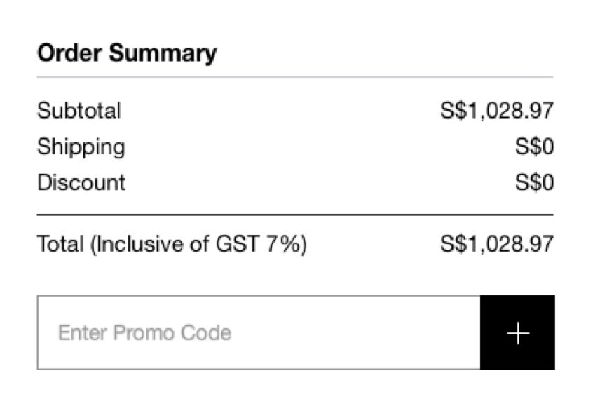Order summary showing final cost including goods and services tax
