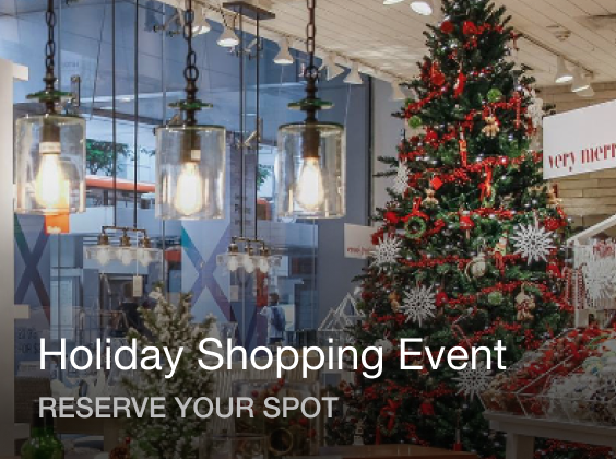 Retail store with large Christmas tree