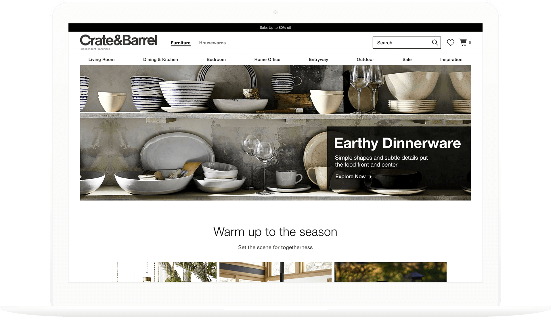 Homepage incorporating app localization, dinnerware on shelves