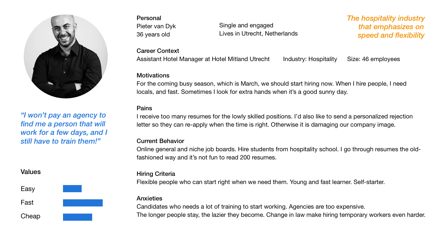 User persona for hotel manager outlining motivations, pains, hiring criteria