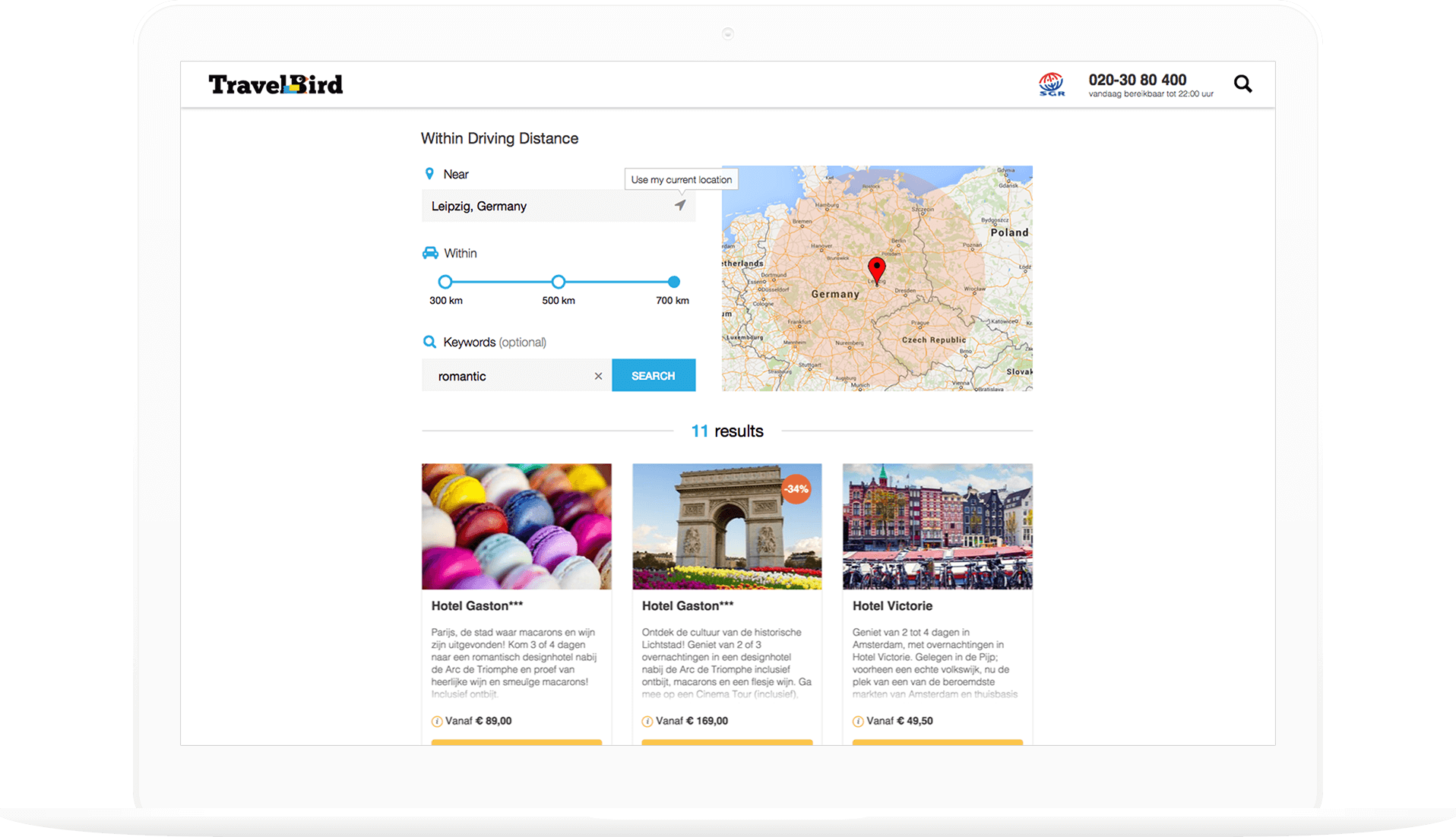 Final UX UI design with search fields, map, and hotel options