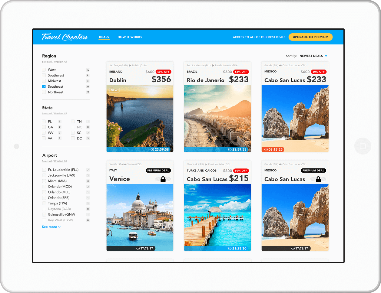Tablet screen showing travel app product design