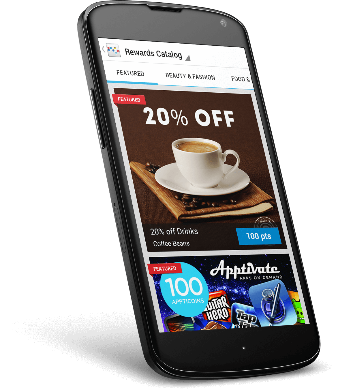 Loyalty product design on Android screen