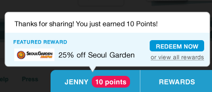 Pop-up showing points earned and featured reward