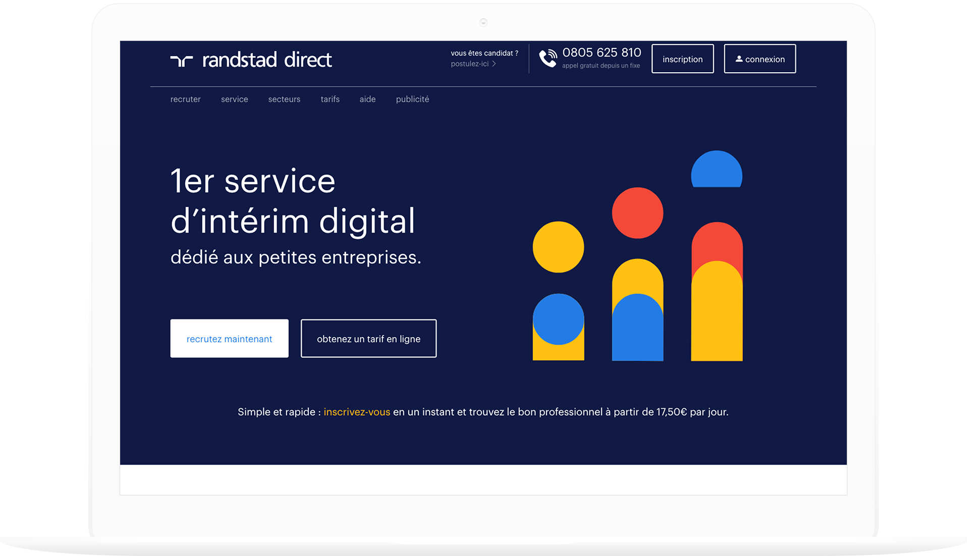 Randstad Direct homepage in French