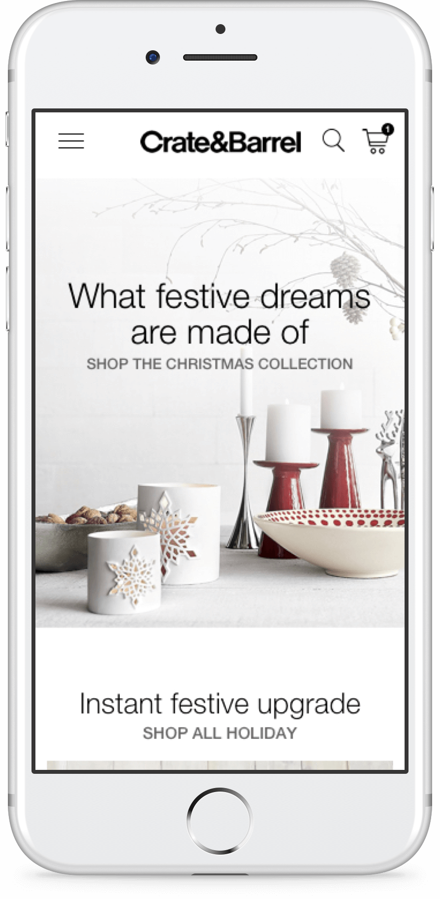 Crate and Barrel Singapore homepage on mobile screen, home furnishings