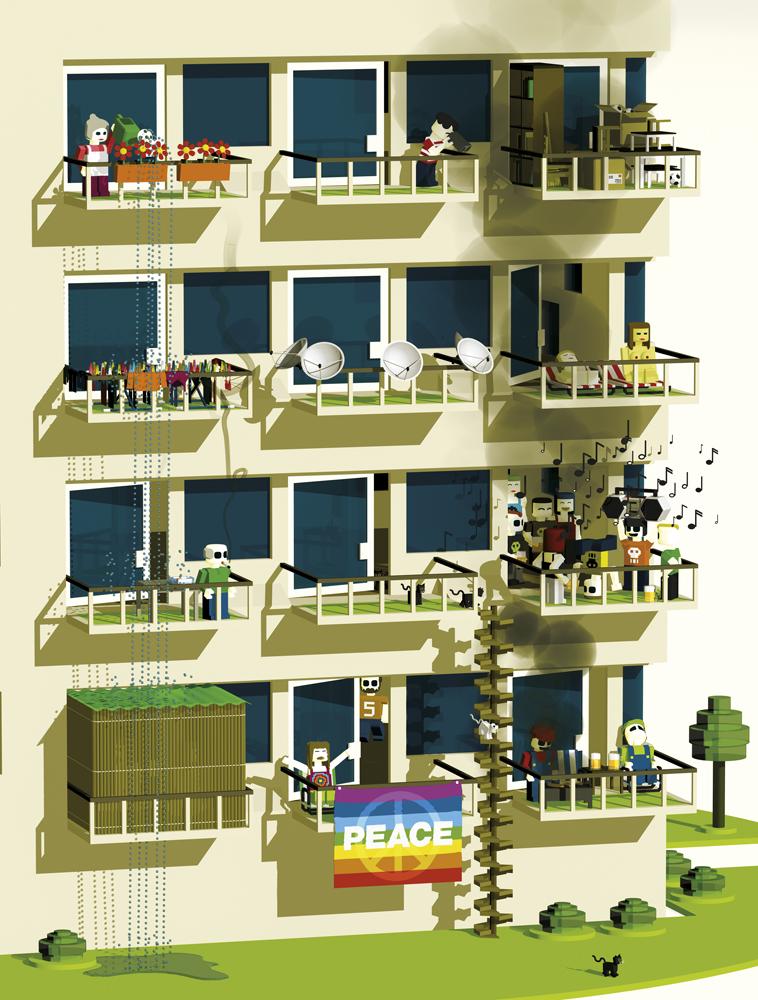 "Beobachter, Ausgabe 9/2012, ""Kampfzone Balkon"", Illustration 2"
