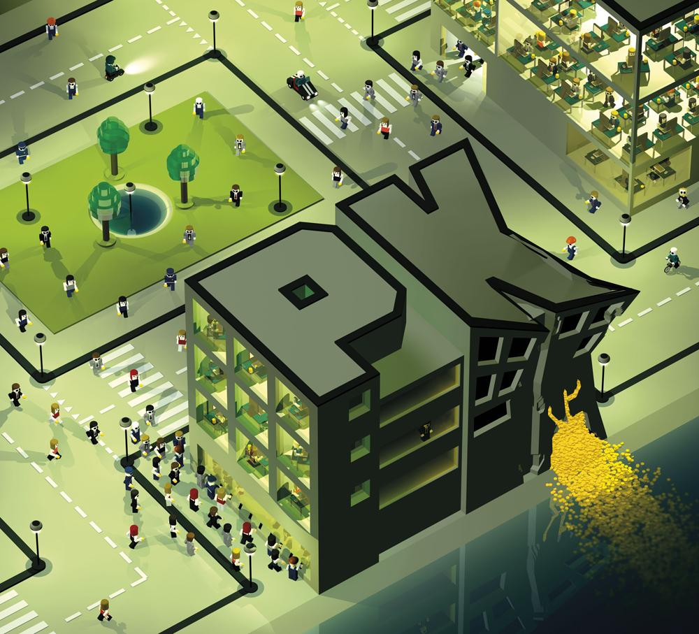 """Bilanz, Ausgabe 6/2012, Illustration """"Wenn Miliarden flöten gehen"""""""
