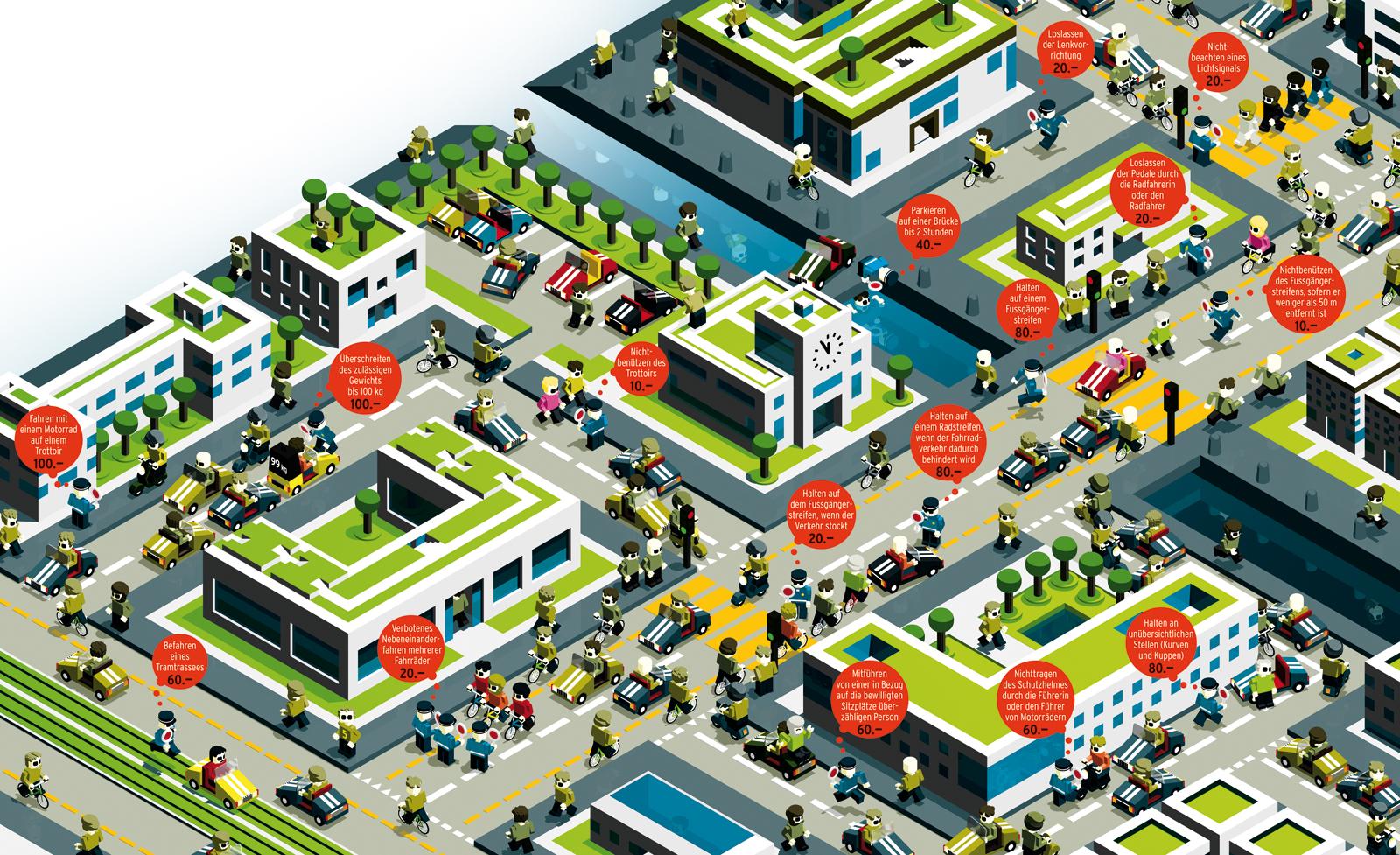 """Beobachter, Ausgabe 23/09, Illustration """"Durchblick im Bussendschungel"""""""
