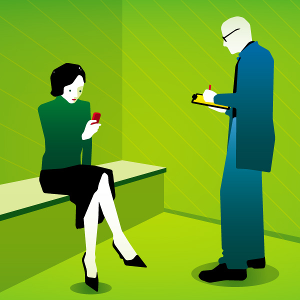 """2006: Sonntagszeitung, 18. Juni, Illustrations-Serie """"Das kurze Leben eines Handys"""", Multimedia-Bund 6"""