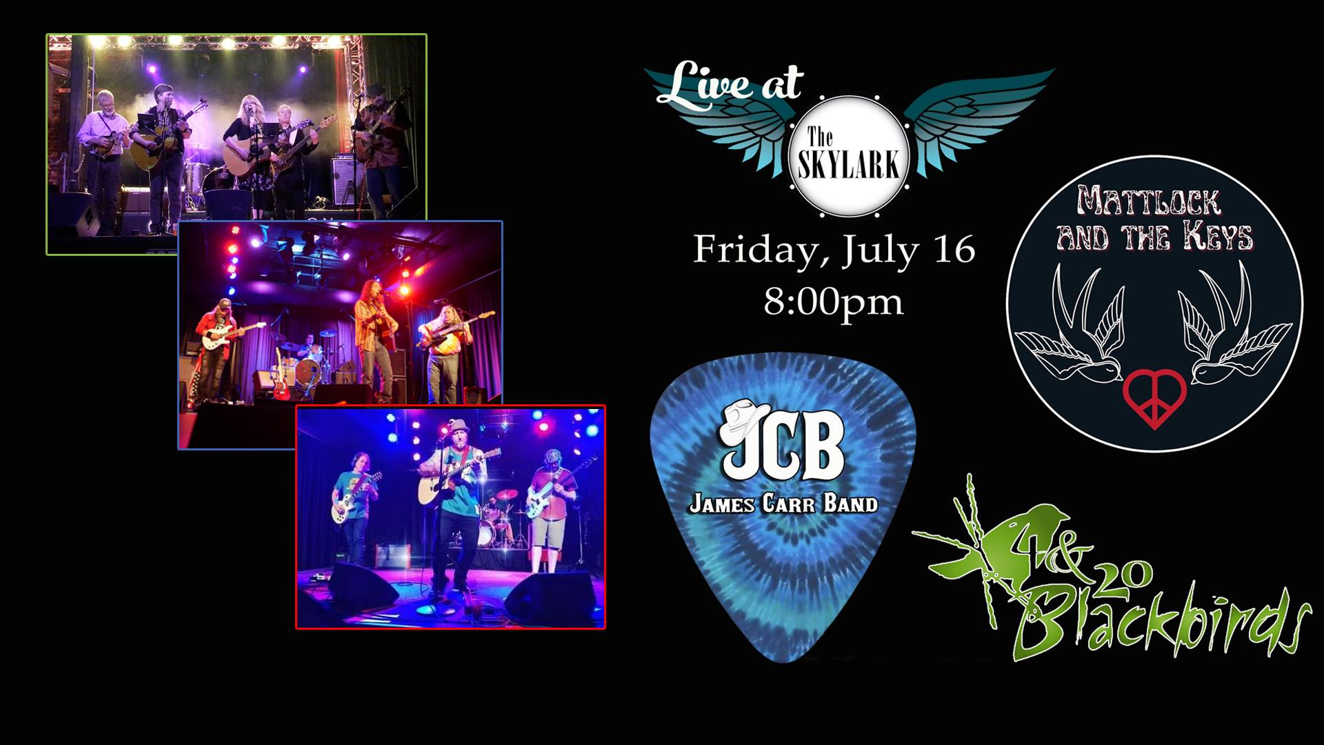 We are happy to offer this FREE show to welcome back live music to The Skylark. A great night of Blues, Rock, and more! We are all ages till 10pm and have food and drinks all night!