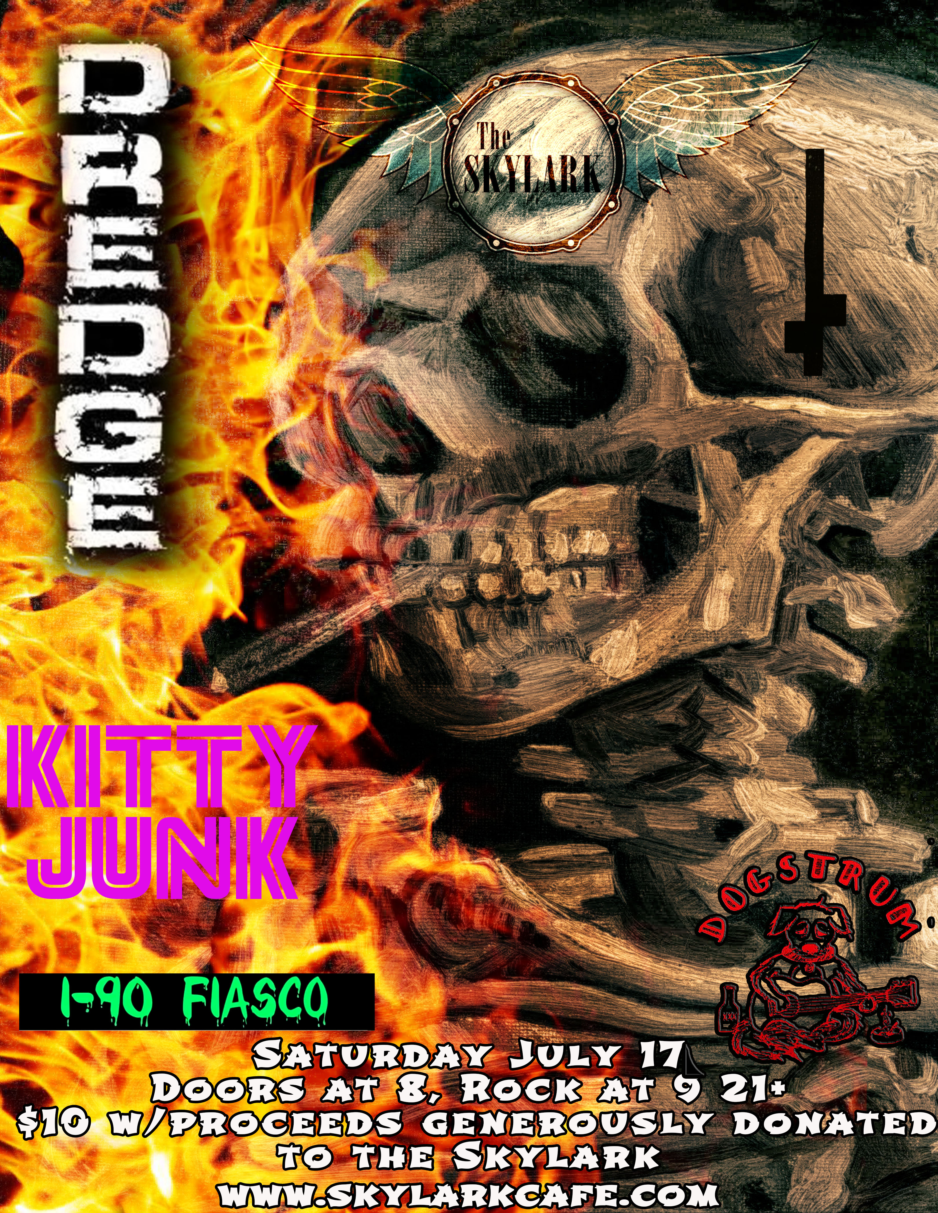 We are ready to blow out the cobwebs with some serious ROCK! Join us as DREDGE, Kitty Junk, I-90 Fiasco, and Dogstrum rock the house.