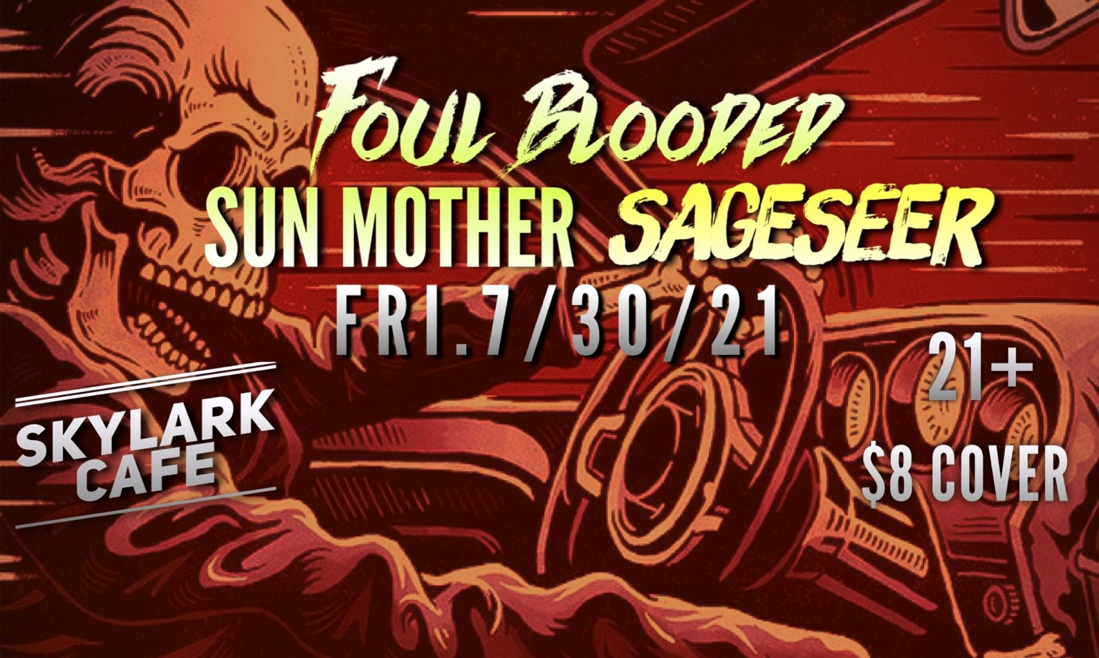 Drawing on Seattle's rock heritage, Foul Blooded brings a 3-piece high octane performance playing original infectious edgy grooves laced with rock, metal, blues and funk. Sageseer (formerly MedicineHead) is a Seattle-based psychedelic acid rock deep blues experience. Sun Mother is grunge-hop music from Seattle made by Colbi Childs & friends.
