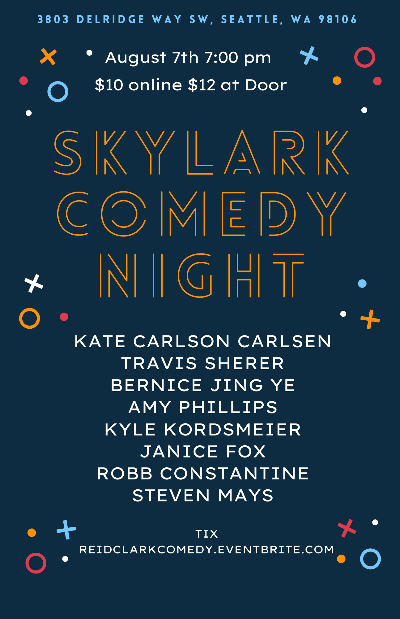 Stand up comedy show with comedians from Netflix, BET, Prime Video etc. Join host Reid Clark at Skylark Café & Club in West Seattle for a night of stand up comedy. $10 online $12 at door
