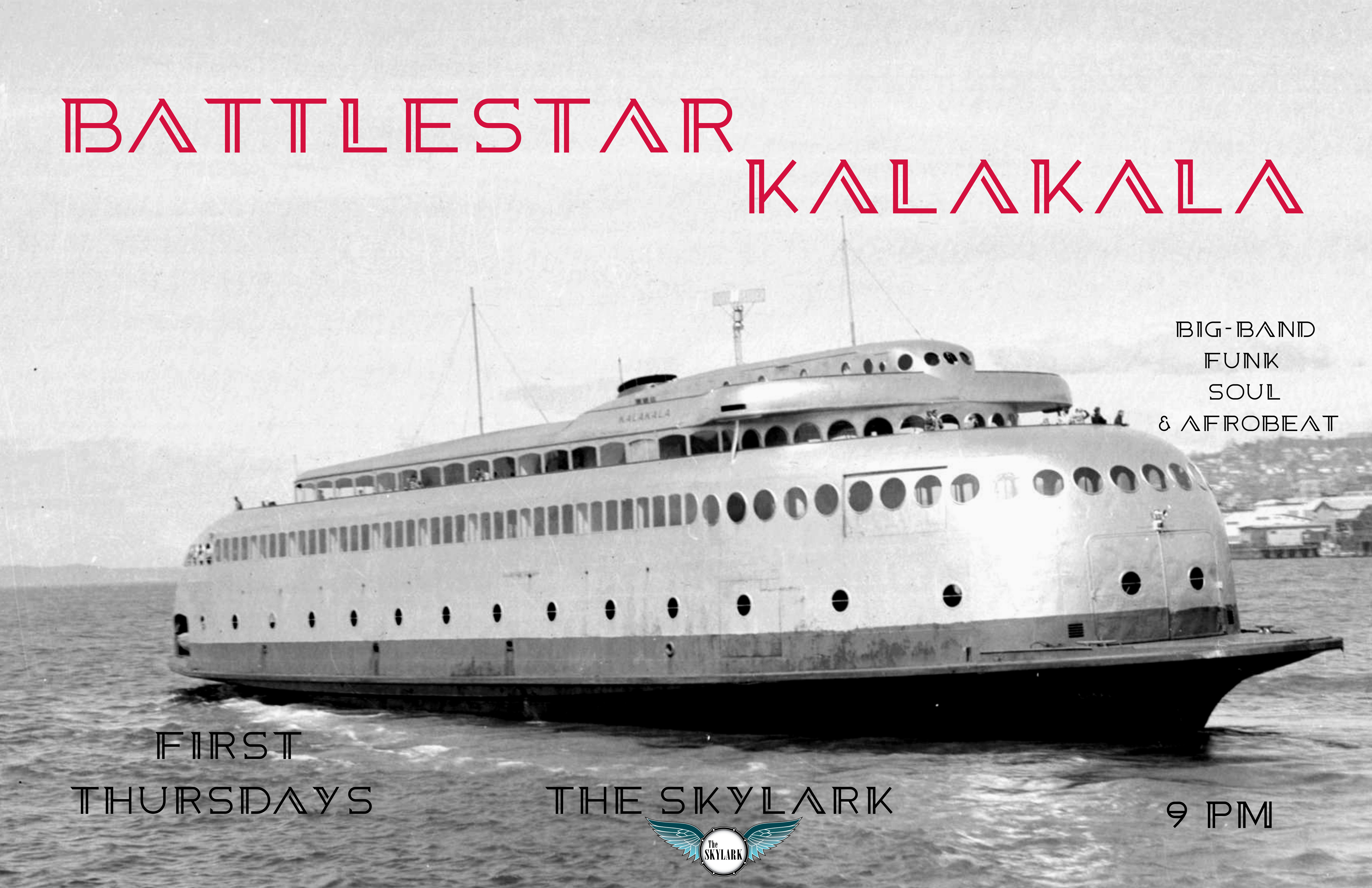 BATTLESTAR KALAKALA continues the tradition of #RareFunkGrooves and #DeepFunk on West Seattle Island. Featuring members of West Seattle Soul and special guests! 10/7 is First Thursday FUNK with Battlestar Kalakala No.3 and we can't wait to share it with YOU! Excited to have Chris O'Connor and Jimmy Austin back in the fold, and to welcome Chris Poage and Alex Dugdale for the night!! See you at Skylark West Seattle, and as before, vaxxed and masked, with space to hang outside in the back.