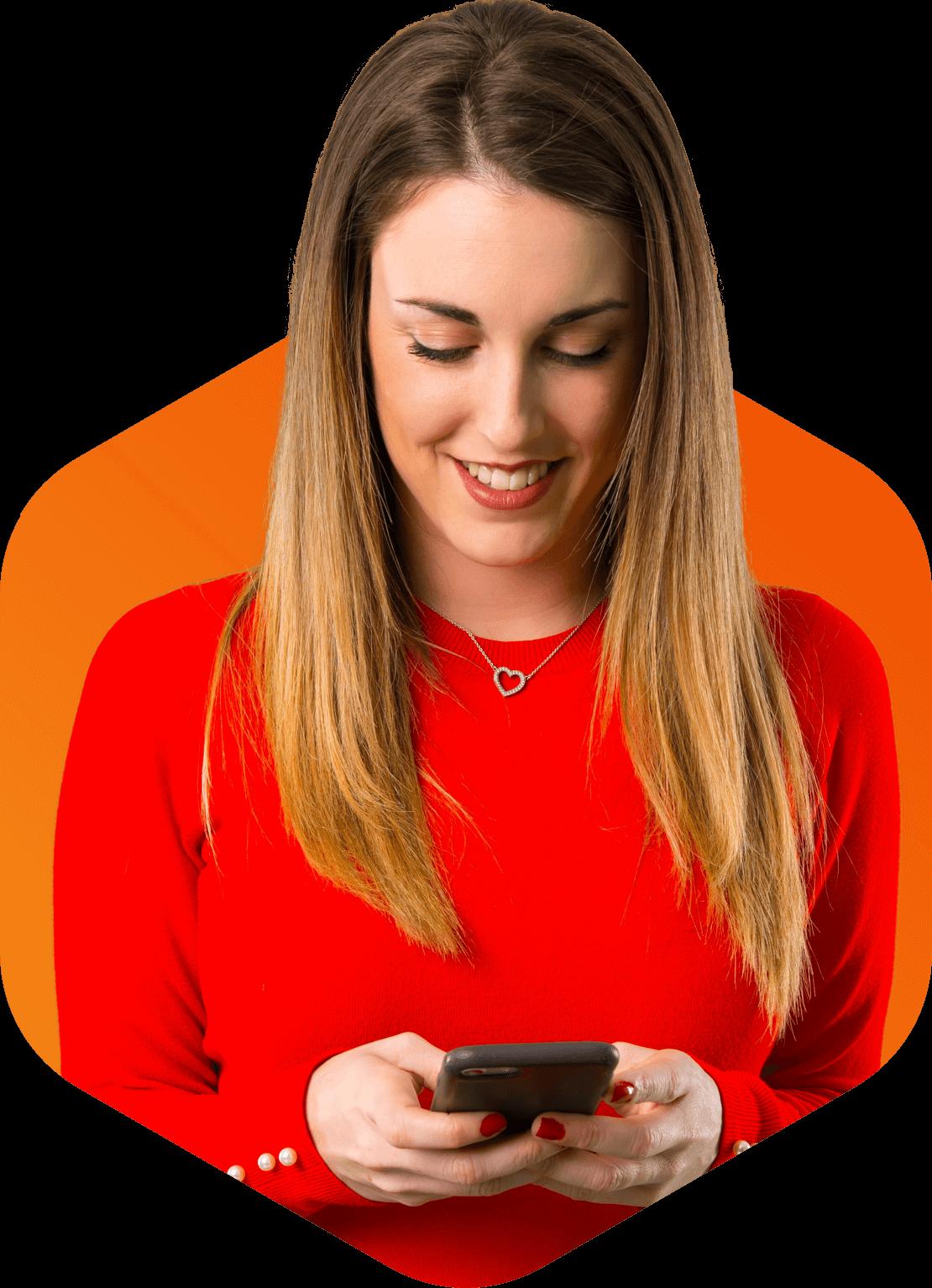 Mulher usando o smartphone