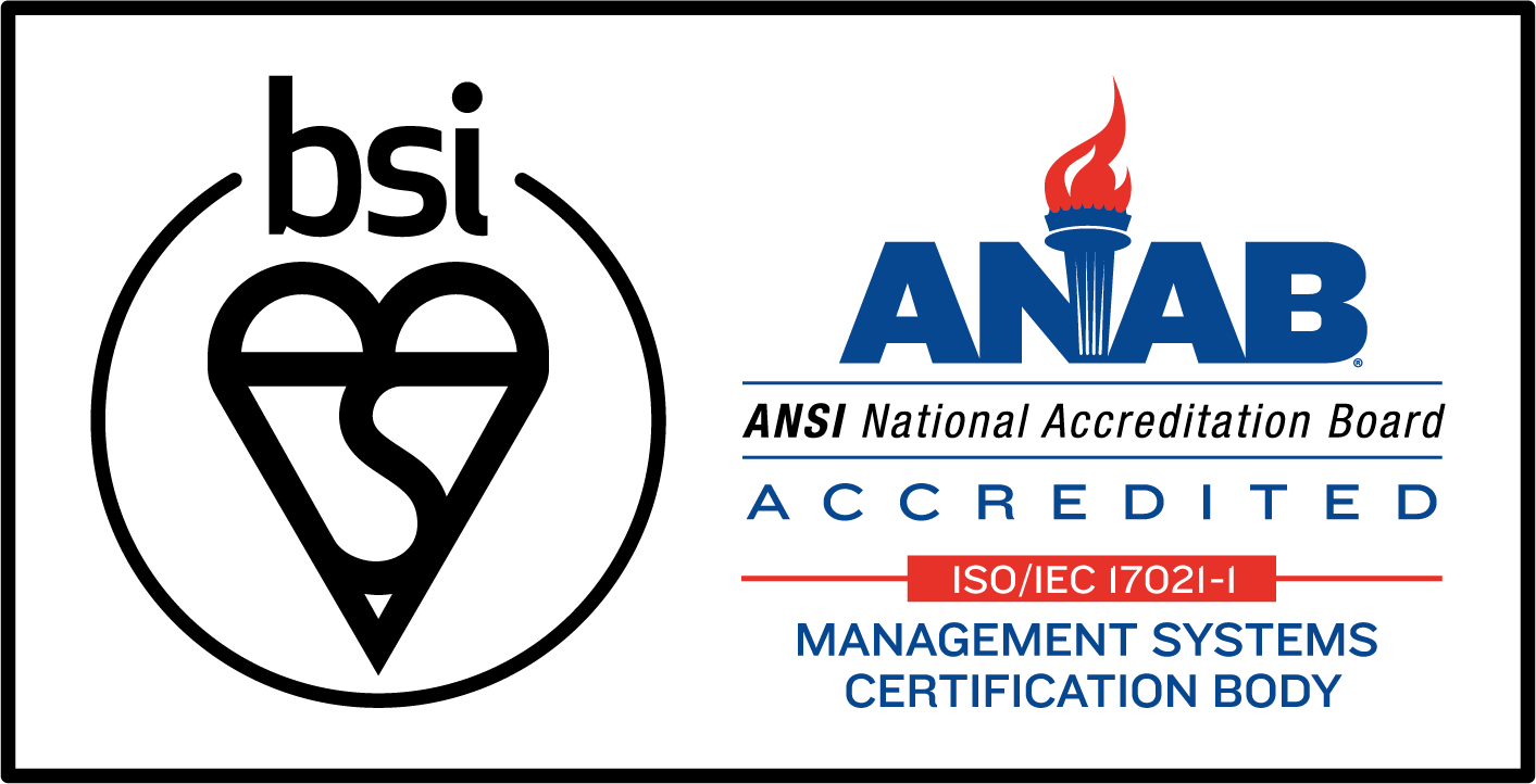 BSI Assurance Mark with ANSI-ASQ National Accreditation Board (ANAB)