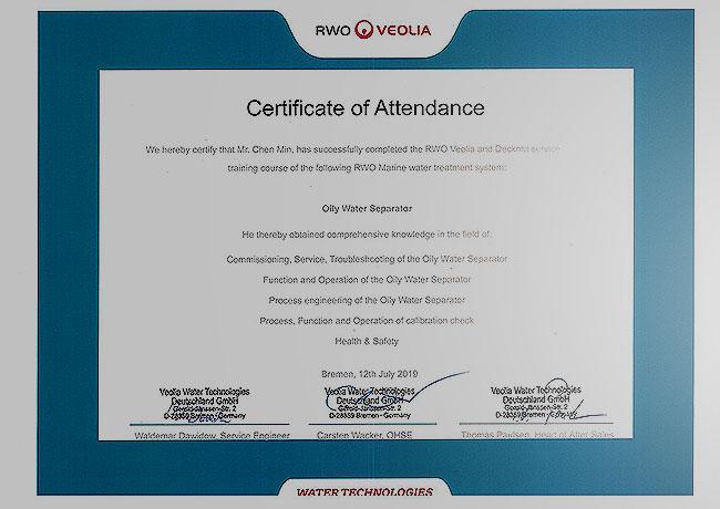 RWO Certificate of Attendance