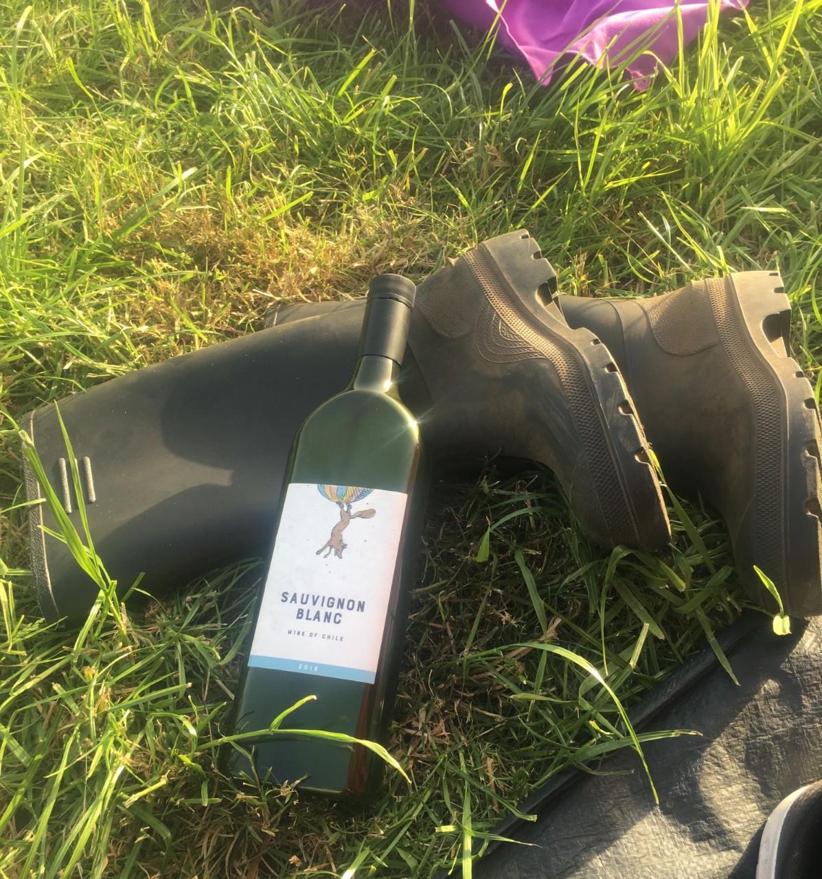 flat wine bottle wellies