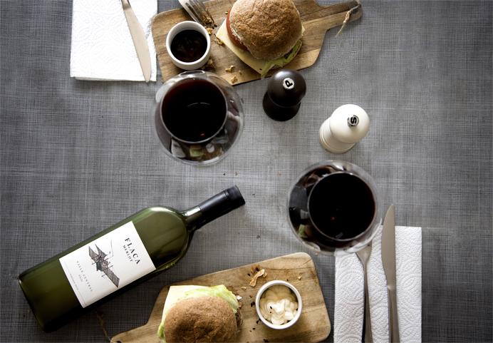 flat wine bottle at dinner