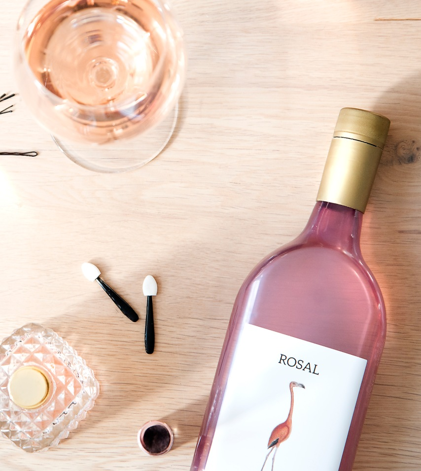 Rosé flat wine bottle