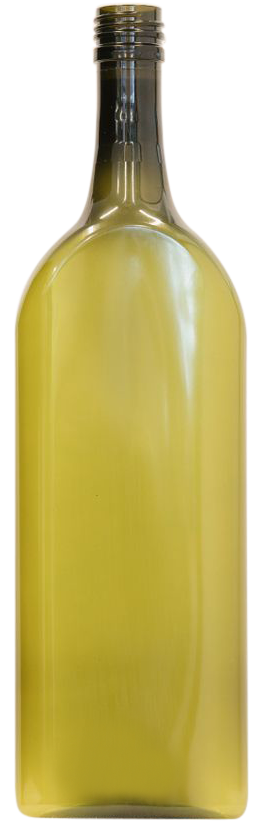 Green flat wine bottle