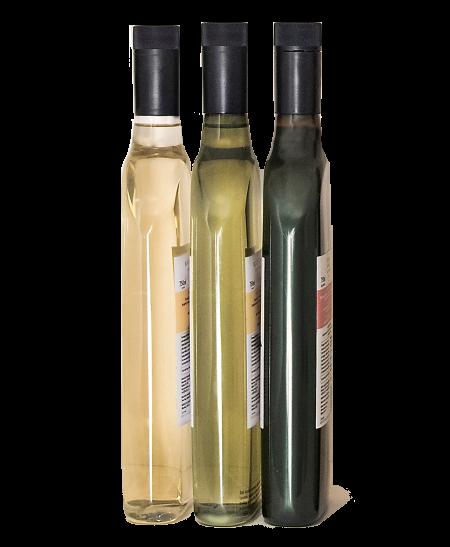 Multiple flat wine bottles, side view