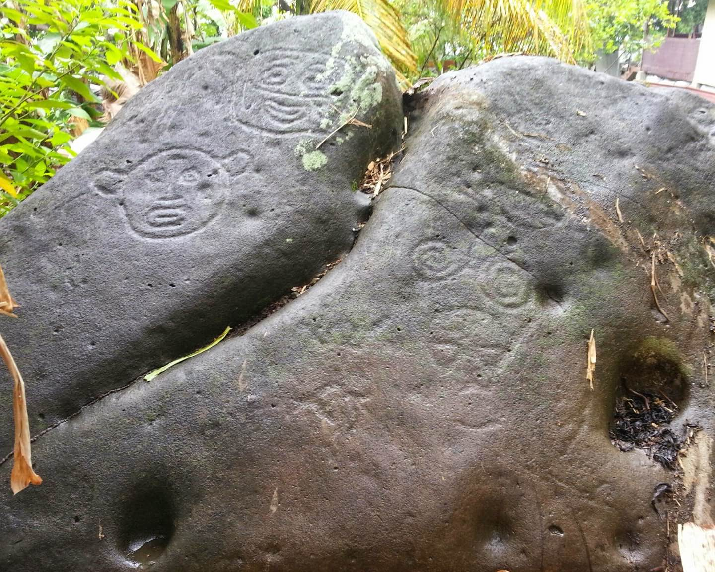 "Petroglyphs, at Waltham, St. Mark. Likely date to circa 500-1000 CE, and associated with the so-called Island Arawaks, though they are popularly called ""Carib stones"" after Grenada's most recent Indigenous inhabitants. (Photo courtesy Grenada National Trust)"