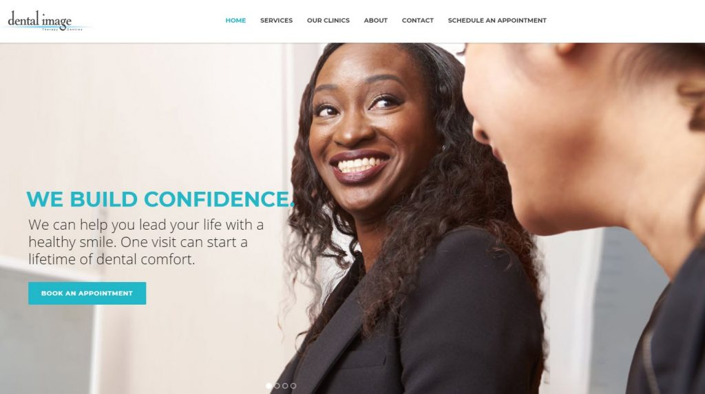 Screen shot of Dental Image Therapy Centres' website home page featuring smiling people