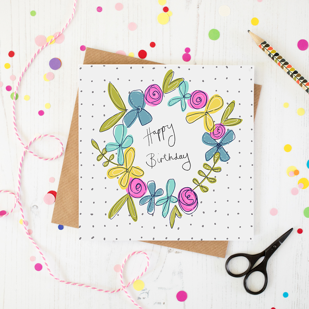 Colourful floral Happy Birthday Card