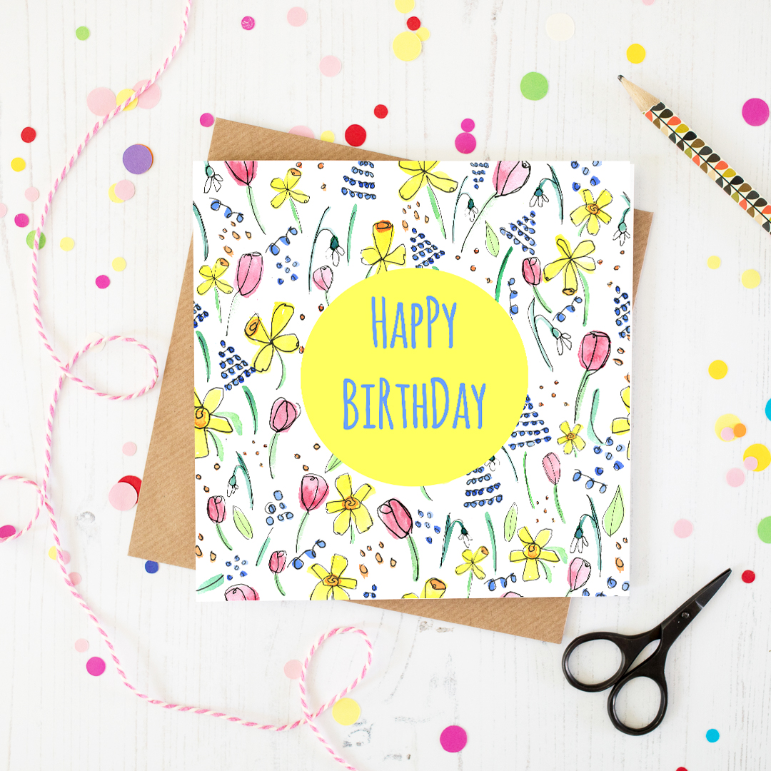 Spring flowers happy birthday card