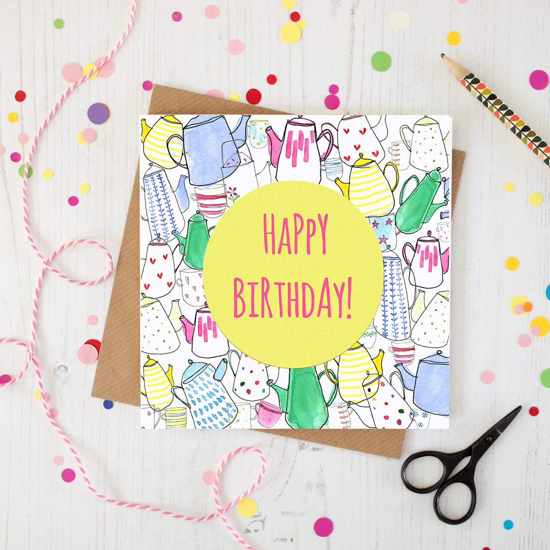 Teapot and cups Happy Birthday Card
