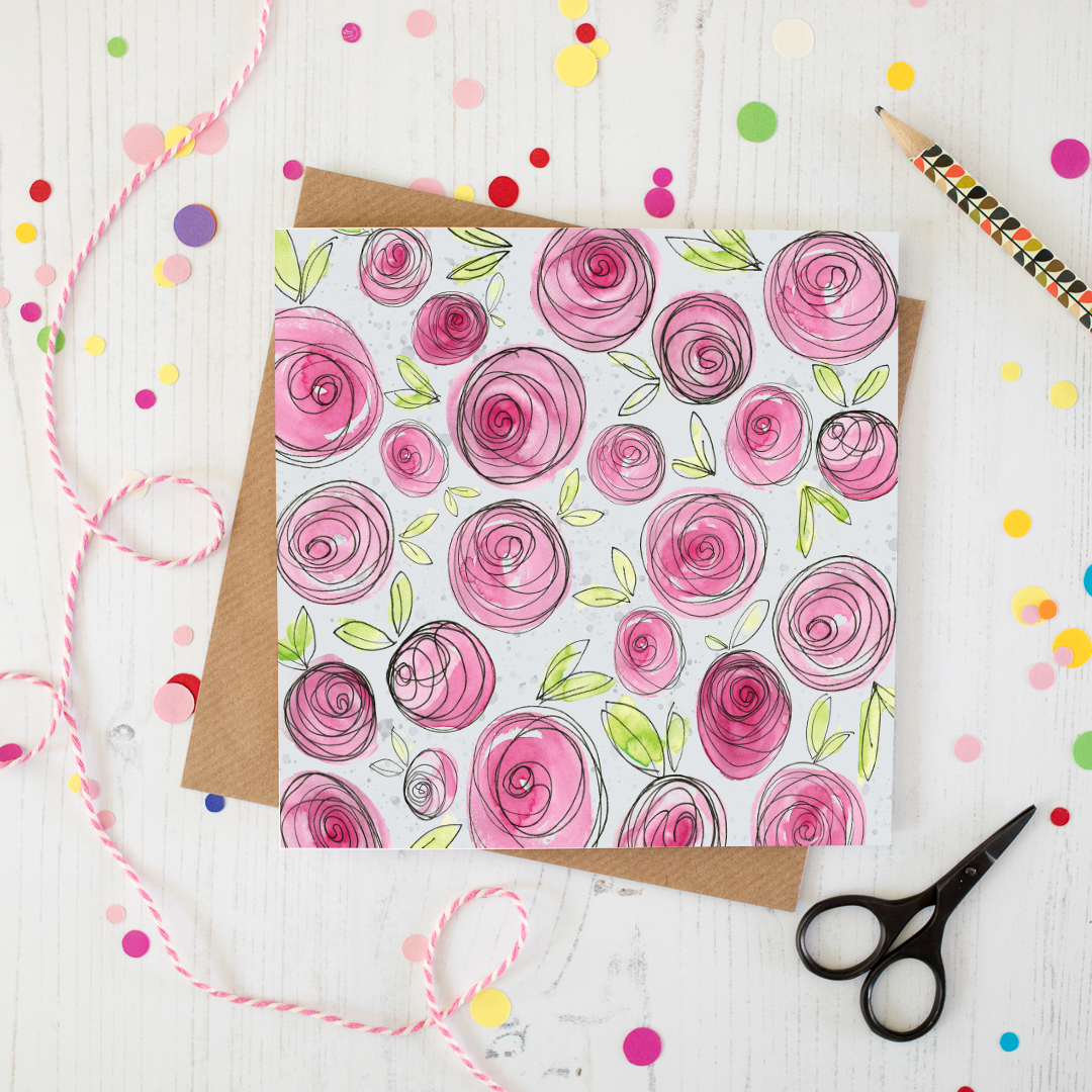 Pink Peony Patterned Greetings Card