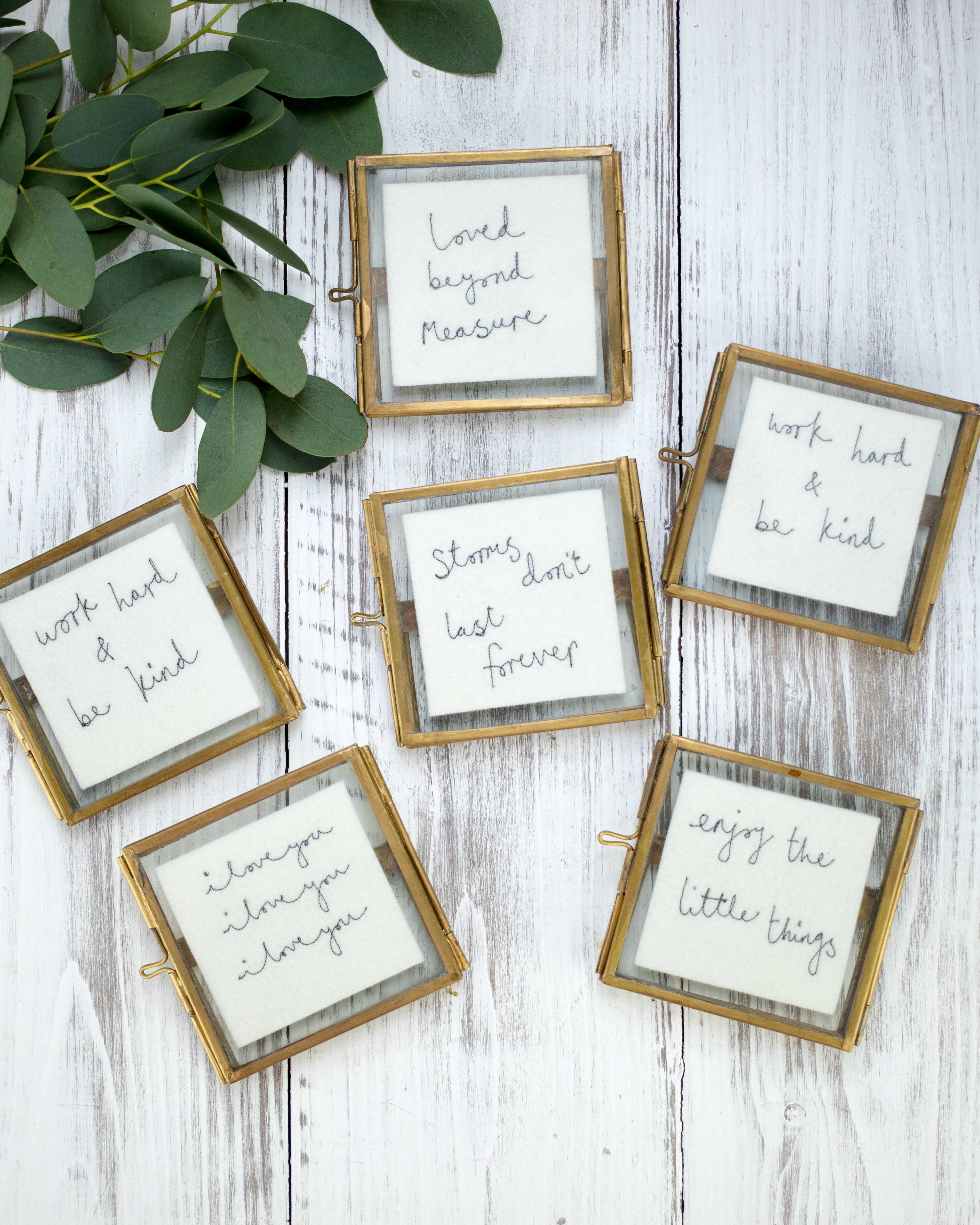 Small framed embroideries