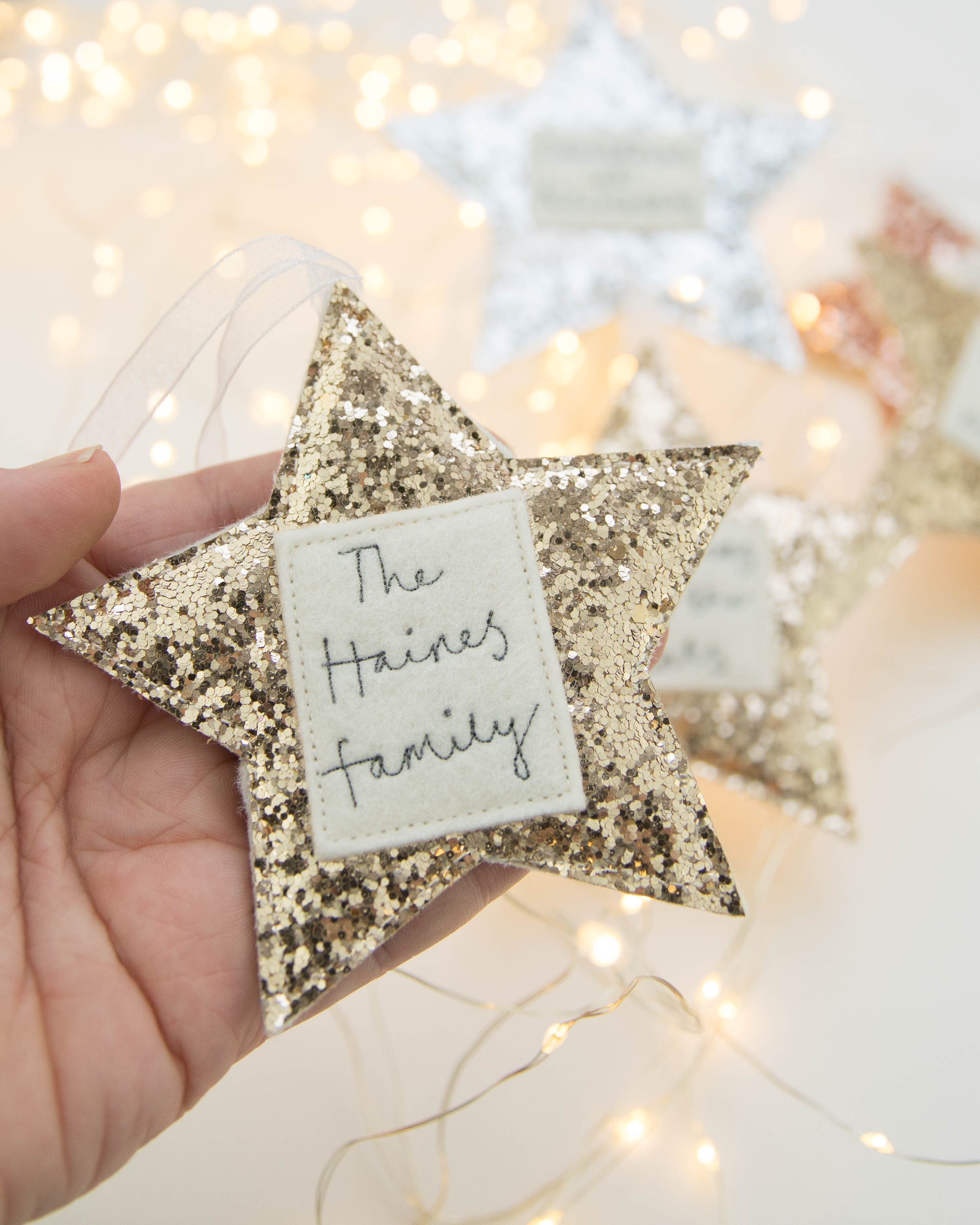 Sparkly Family Christmas Star Decorations