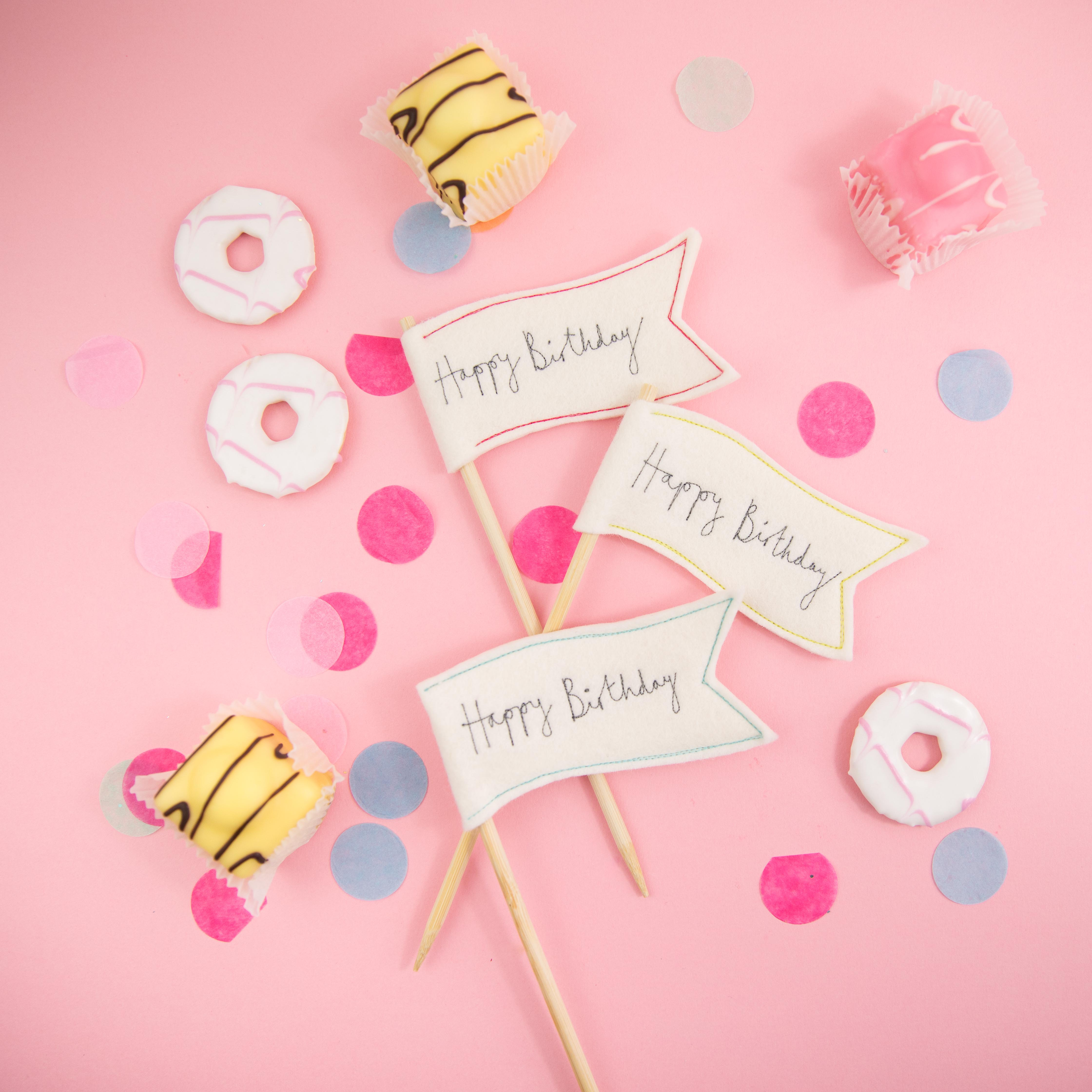 Colourful wavy happy birthday cake toppers