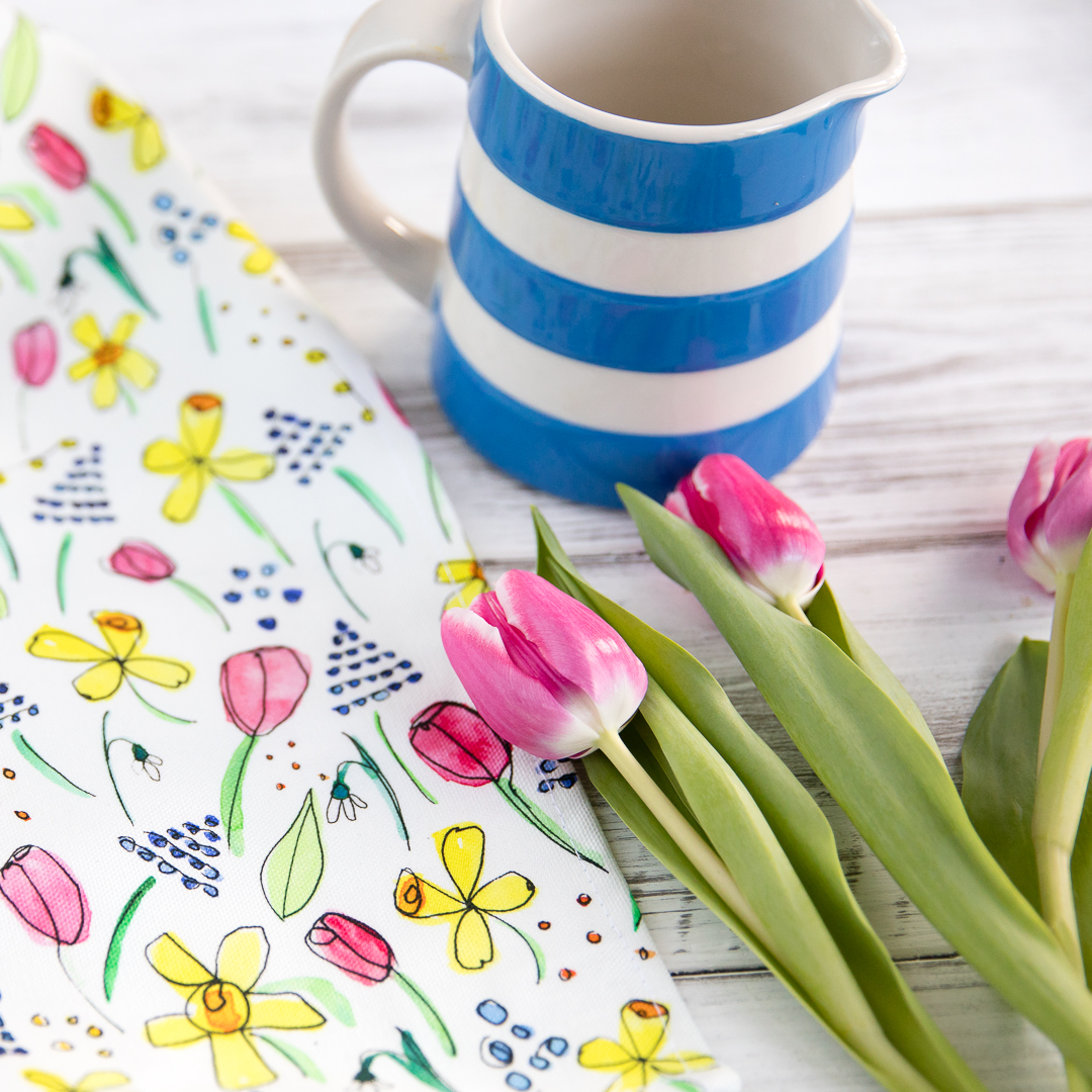 Spring flower tea towel
