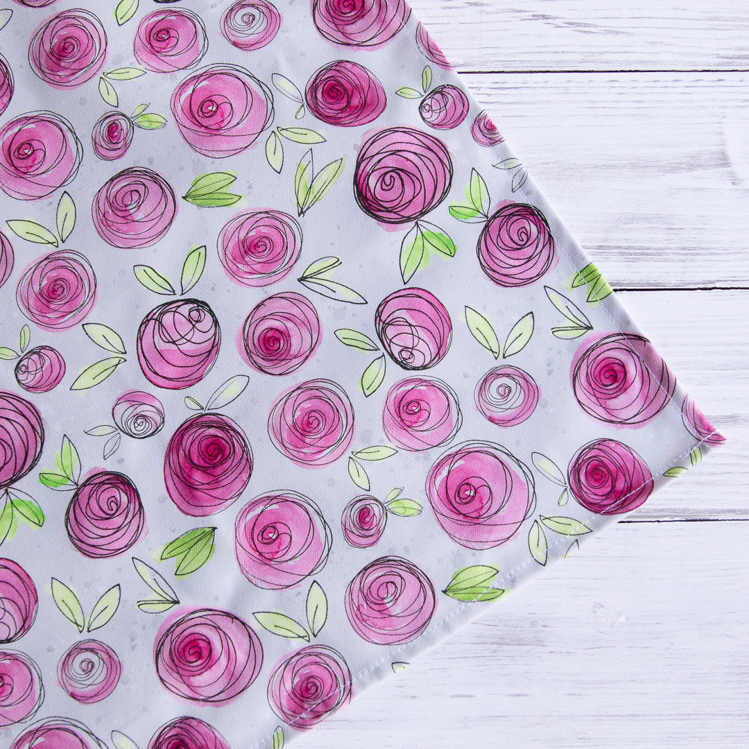 Grey and pink rose tea towel