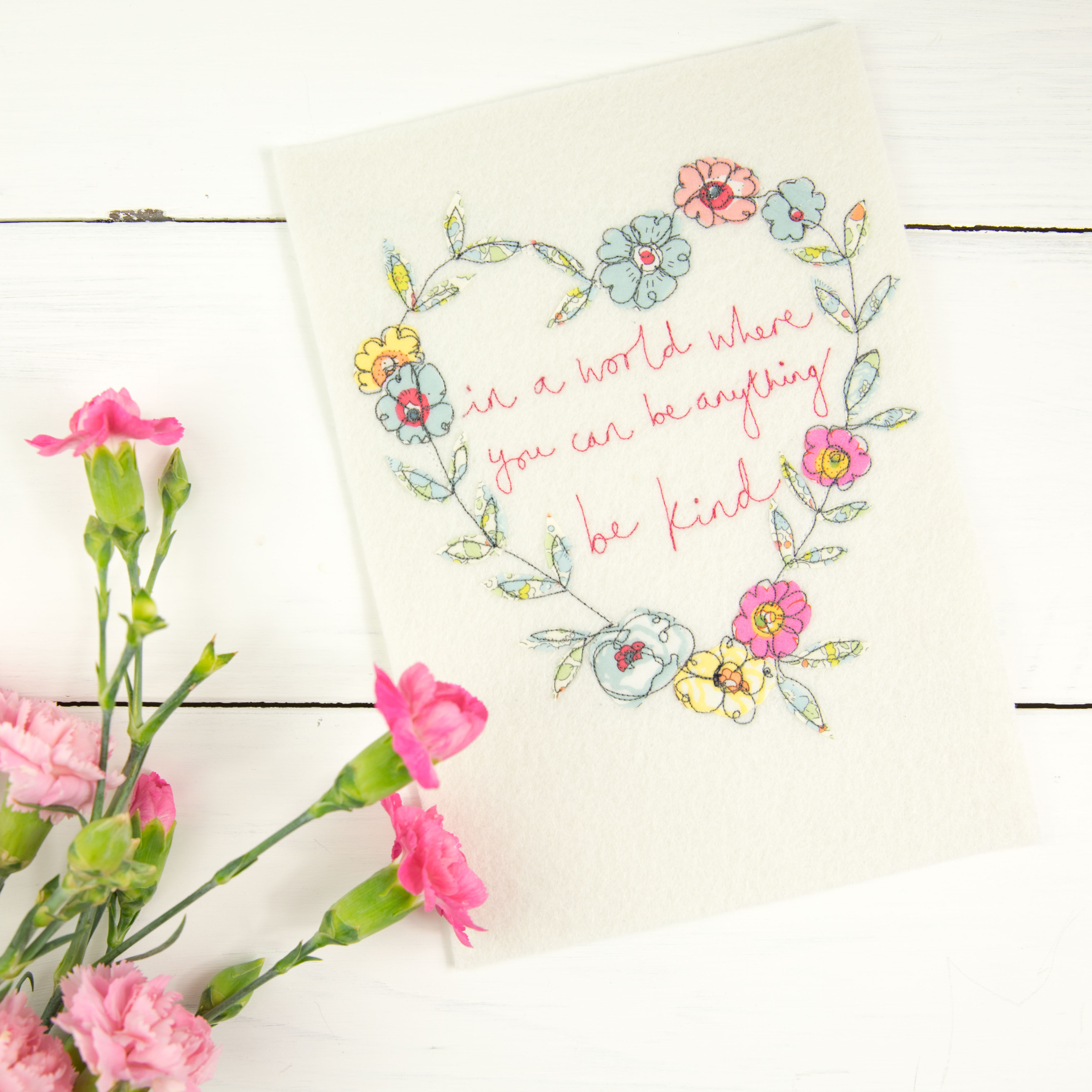 A5 Be kind Floral Embroidery