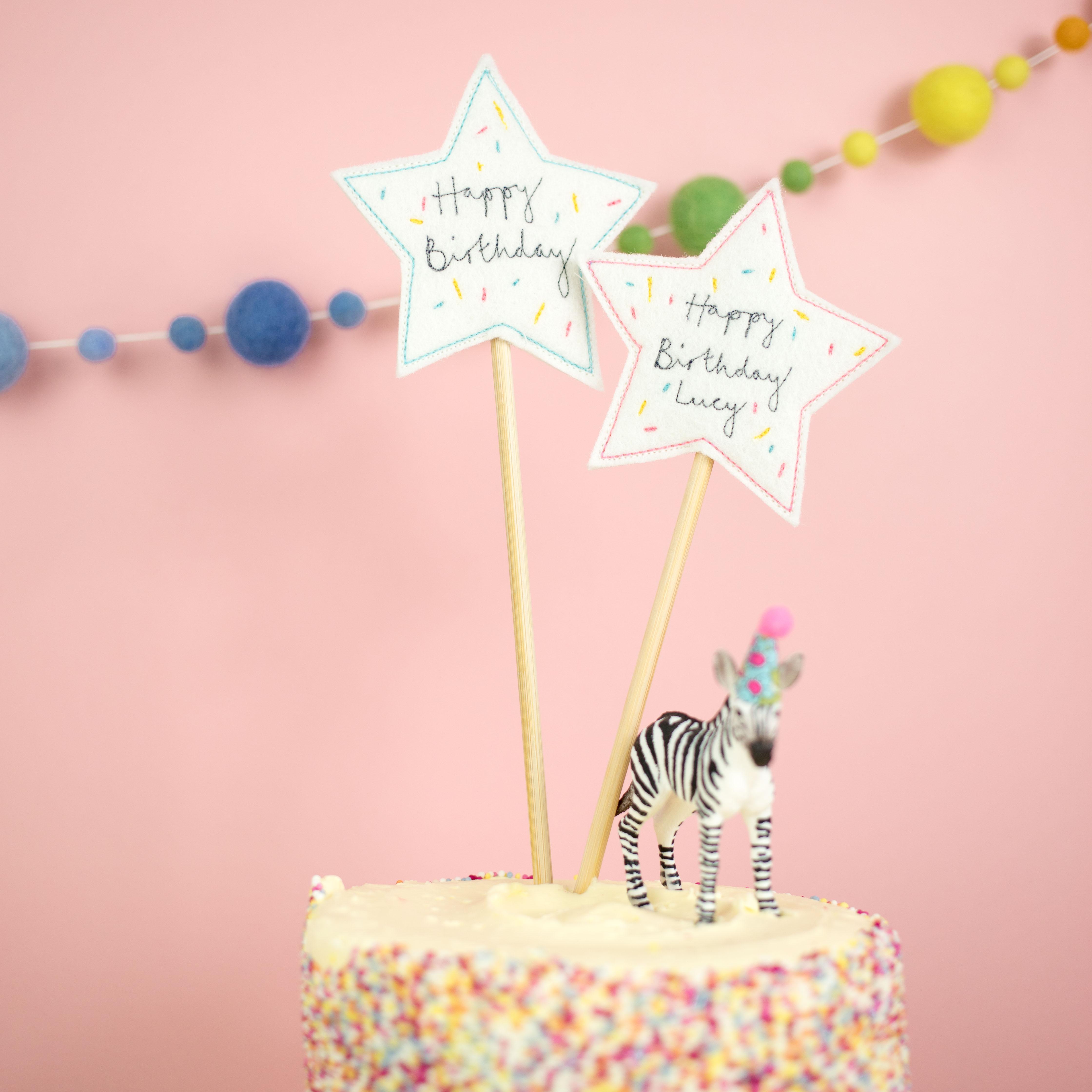Sprinkle Star Birthday Cake Toppers