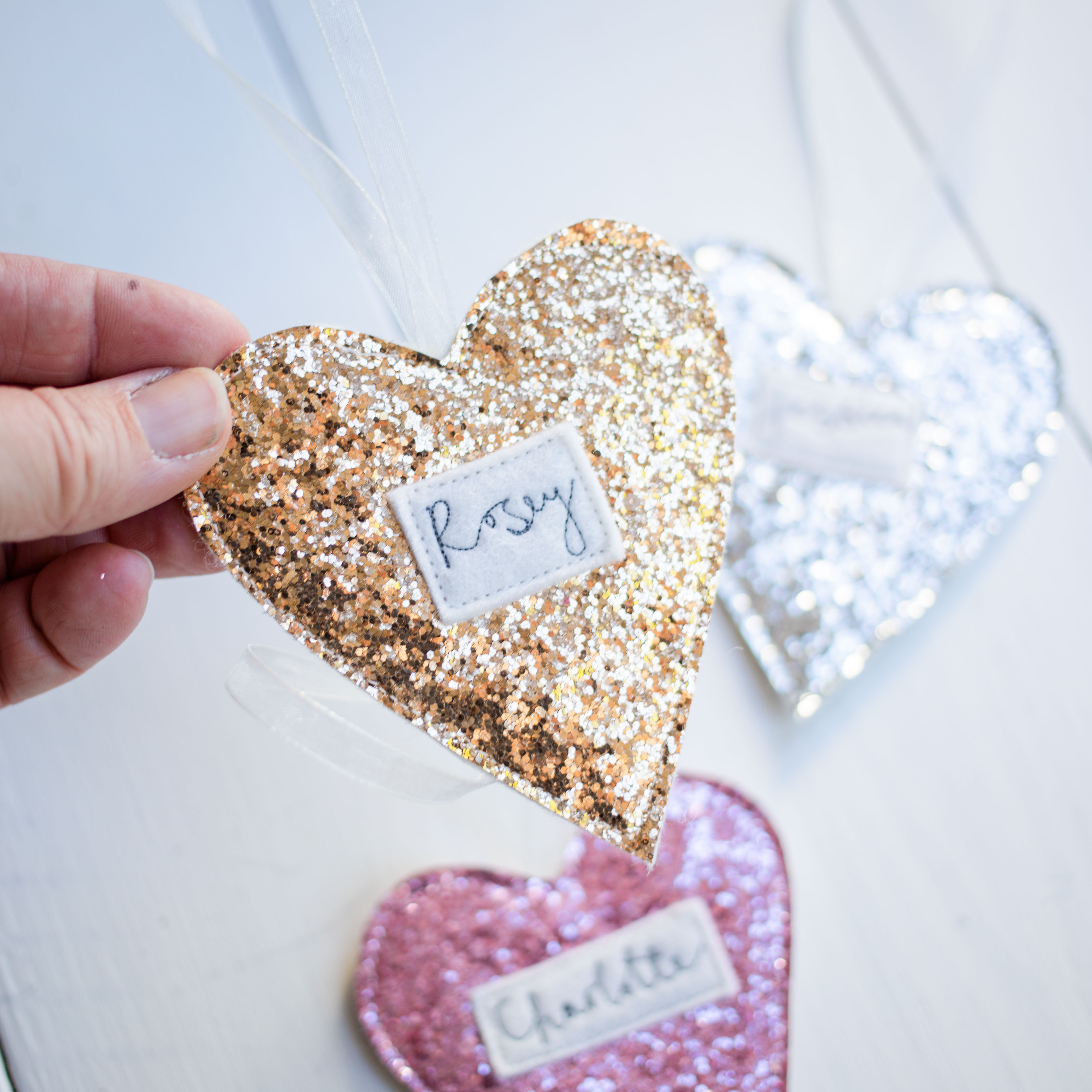 Glittery personalised hanging hearts