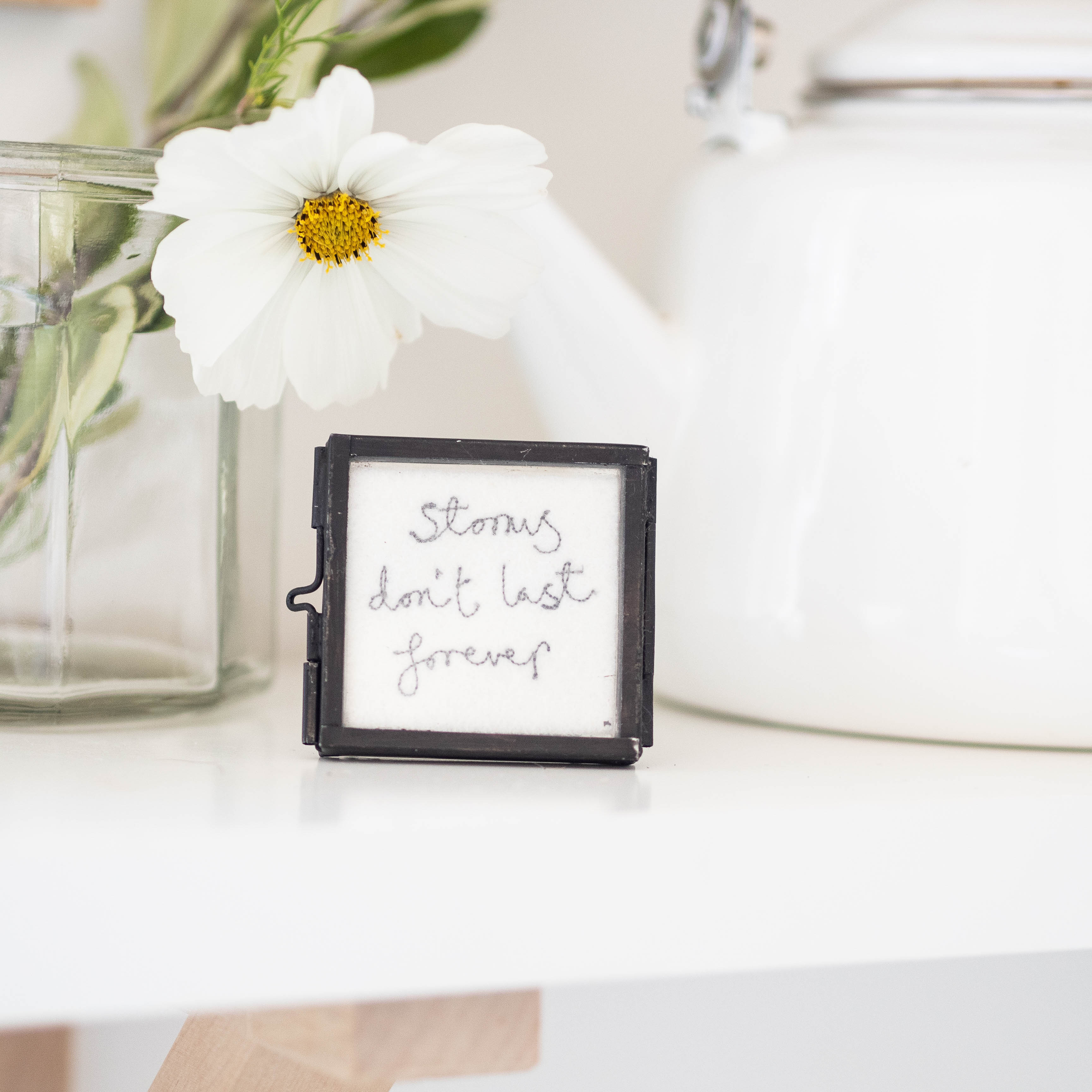 Mini framed embroidery, black