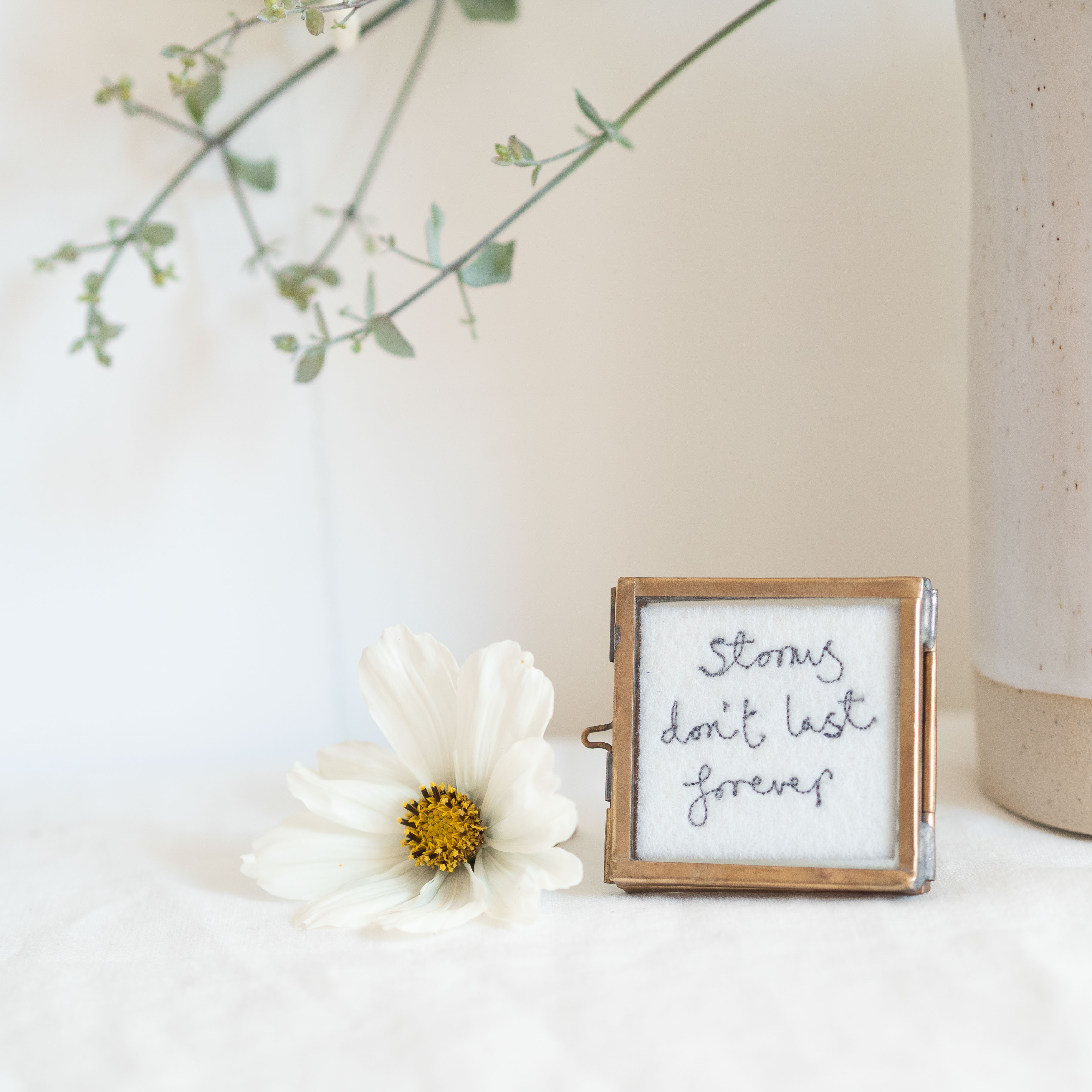 Mini Framed Embroidery, Brass
