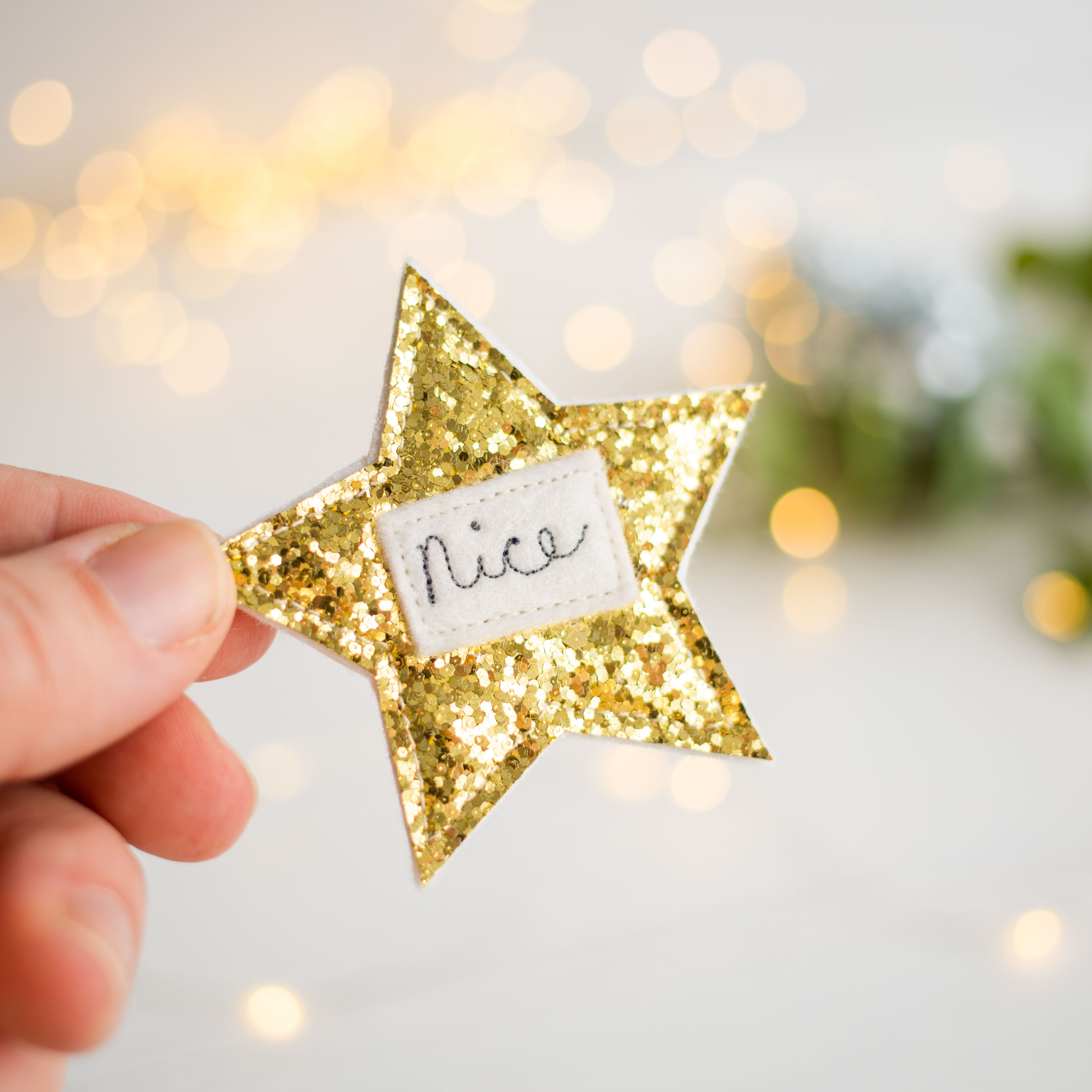 Sparkly 'Nice' Badges