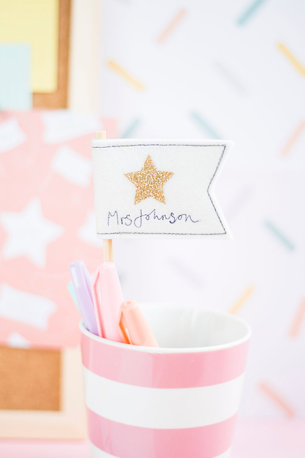 Thank You Teacher Gift – White Flag with Gold Star Decoration